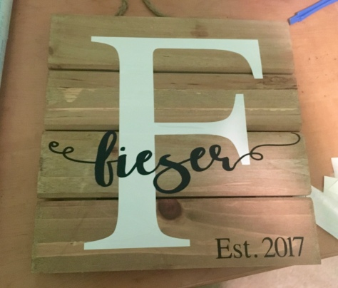 Finished wooden Silhouette Cameo sign